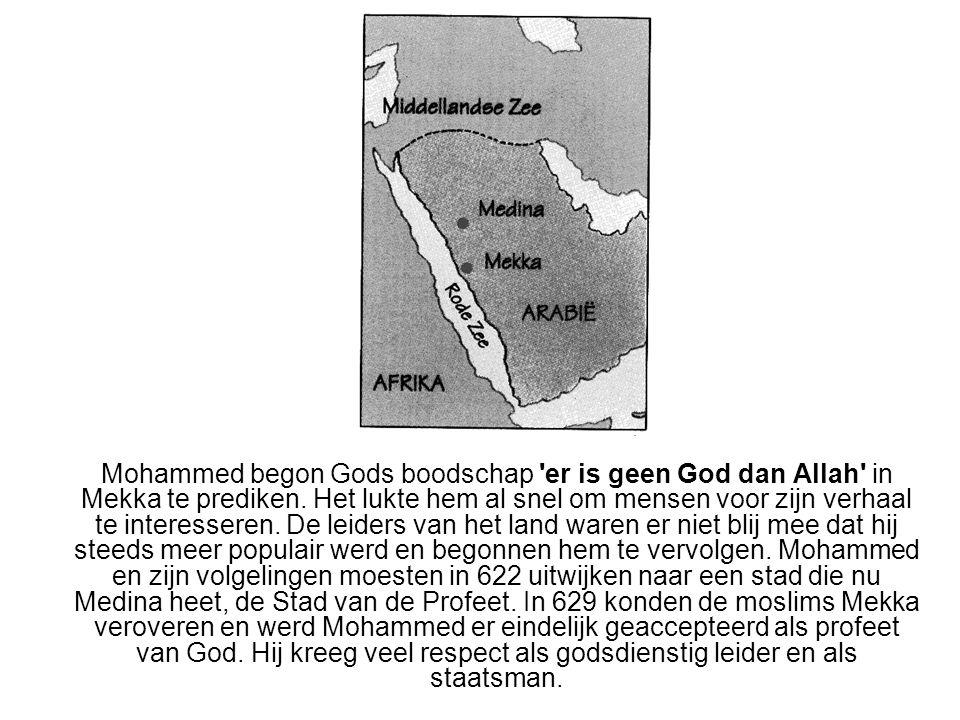 Mohammed begon Gods boodschap 'er is geen God dan Allah' in Mekka te prediken. Het lukte hem al snel om mensen voor zijn verhaal te interesseren. De l