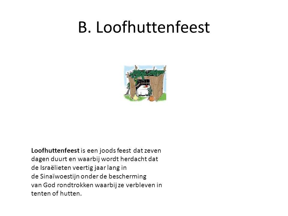 B. Loofhuttenfeest Loofhuttenfeest is een joods feest dat zeven dagen duurt en waarbij wordt herdacht dat de Israëlieten veertig jaar lang in de Sinaï