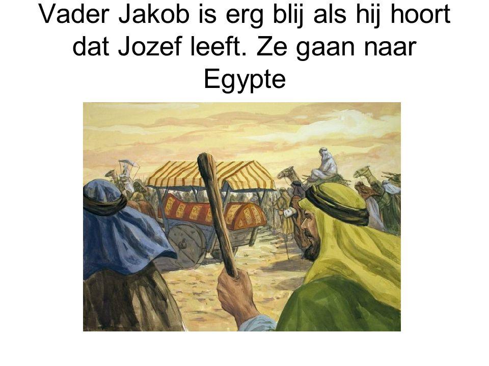 Vader Jakob is erg blij als hij hoort dat Jozef leeft. Ze gaan naar Egypte