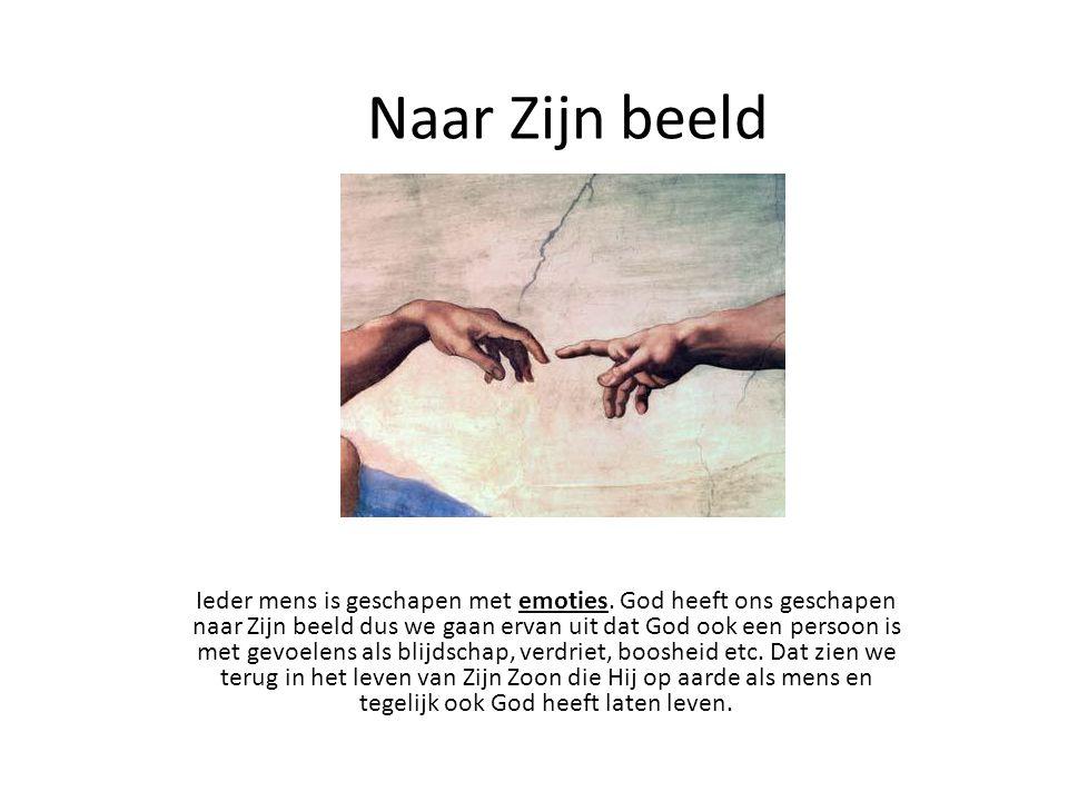 Jezus zijn emoties http://www.youtube.com/watch?v=z5nQCxk_68M 0:00 - boos http://www.youtube.com/watch?v=MpmXKry_orw 0:30 - angst http://www.youtube.com/watch?v=S6c3k6jvLk8 4:45 - bewogen Verdriet: Jezus had vrienden en discipelen, hij huilde toen Zijn vriend Lazarus was overleden