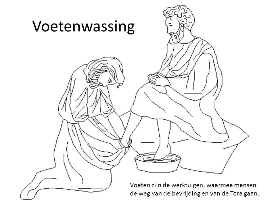 Voetenwassing Voeten zijn de werktuigen, waarmee mensen de weg van de bevrijding en van de Tora gaan.