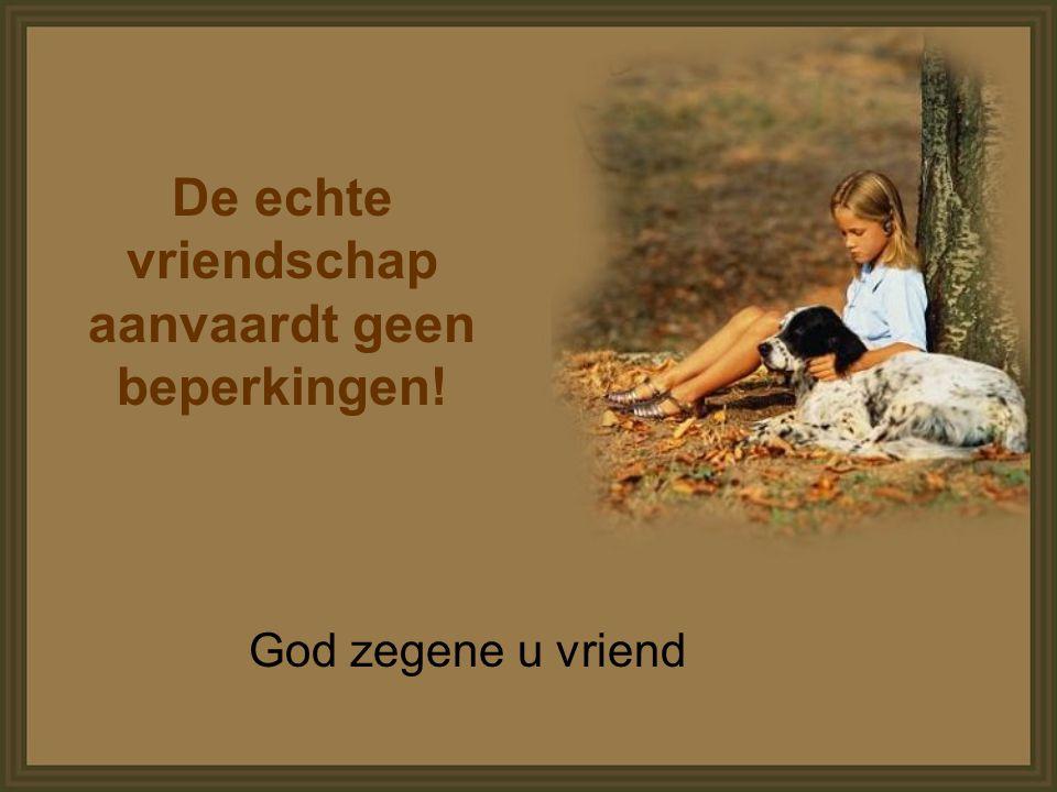 De echte vriendschap aanvaardt geen beperkingen! God zegene u vriend