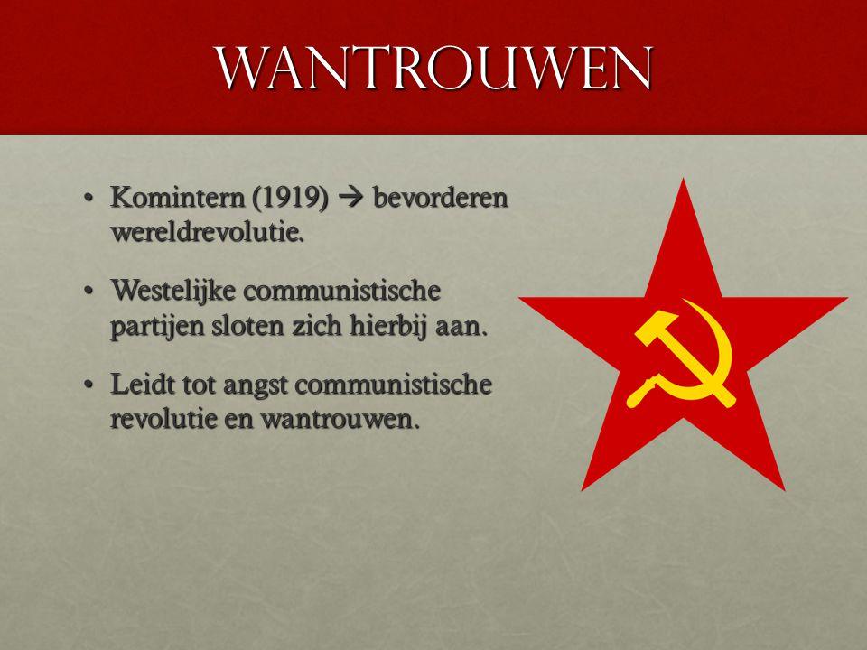 wantrouwen Komintern (1919)  bevorderen wereldrevolutie.Komintern (1919)  bevorderen wereldrevolutie. Westelijke communistische partijen sloten zich