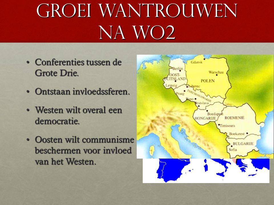 Groei wantrouwen na WO2 Conferenties tussen de Grote Drie.Conferenties tussen de Grote Drie. Ontstaan invloedssferen.Ontstaan invloedssferen. Westen w