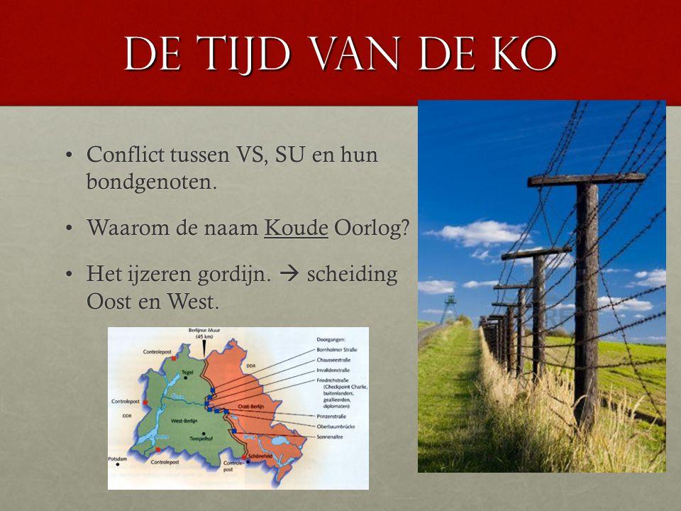 De tijd van de KO Conflict tussen VS, SU en hun bondgenoten.Conflict tussen VS, SU en hun bondgenoten. Waarom de naam Koude Oorlog?Waarom de naam Koud