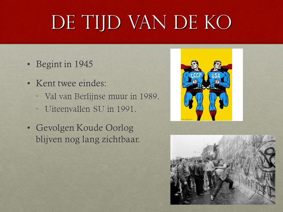 De tijd van de KO Begint in 1945Begint in 1945 Kent twee eindes:Kent twee eindes: Val van Berlijnse muur in 1989.Val van Berlijnse muur in 1989. Uitee