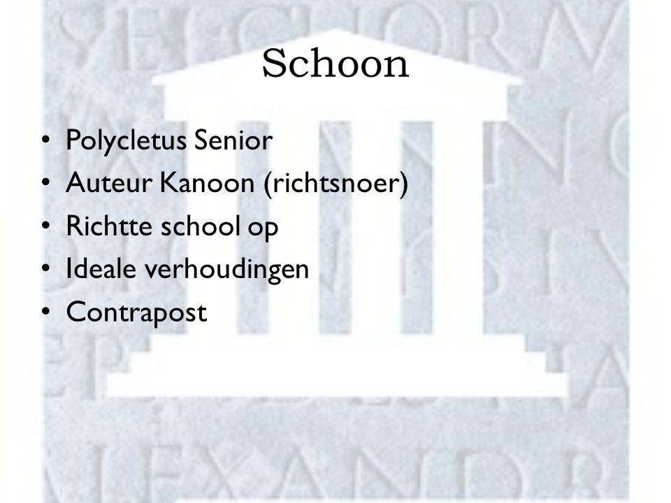 Schoon Polycletus Senior Auteur Kanoon (richtsnoer) Richtte school op Ideale verhoudingen Contrapost