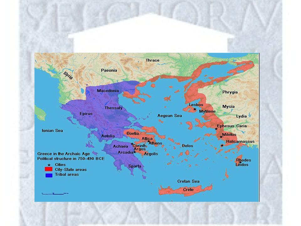 Polis Door natuurlijke omstandigheden rond 800 V.Chr aparte staatjes Polis – Acropolis – Agora – Rondom stad – Daaromheen dorpen en landbouwgebieden