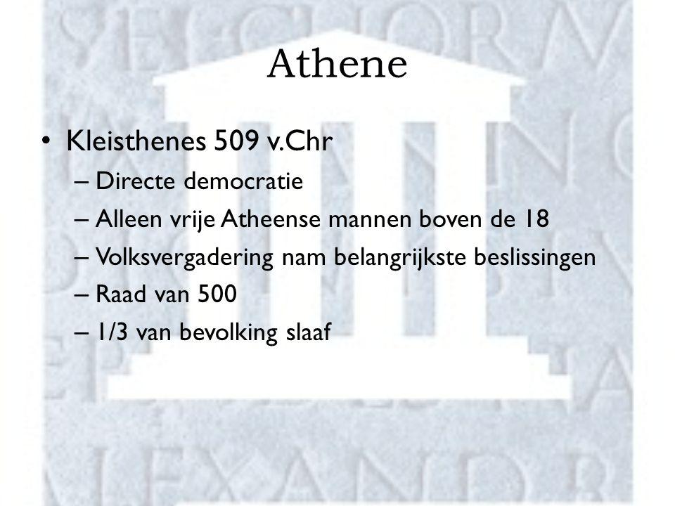 Athene Kleisthenes 509 v.Chr – Directe democratie – Alleen vrije Atheense mannen boven de 18 – Volksvergadering nam belangrijkste beslissingen – Raad van 500 – 1/3 van bevolking slaaf