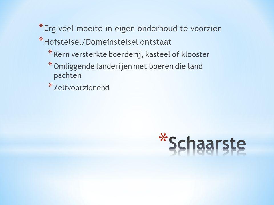 * Erg veel moeite in eigen onderhoud te voorzien * Hofstelsel/Domeinstelsel ontstaat * Kern versterkte boerderij, kasteel of klooster * Omliggende lan