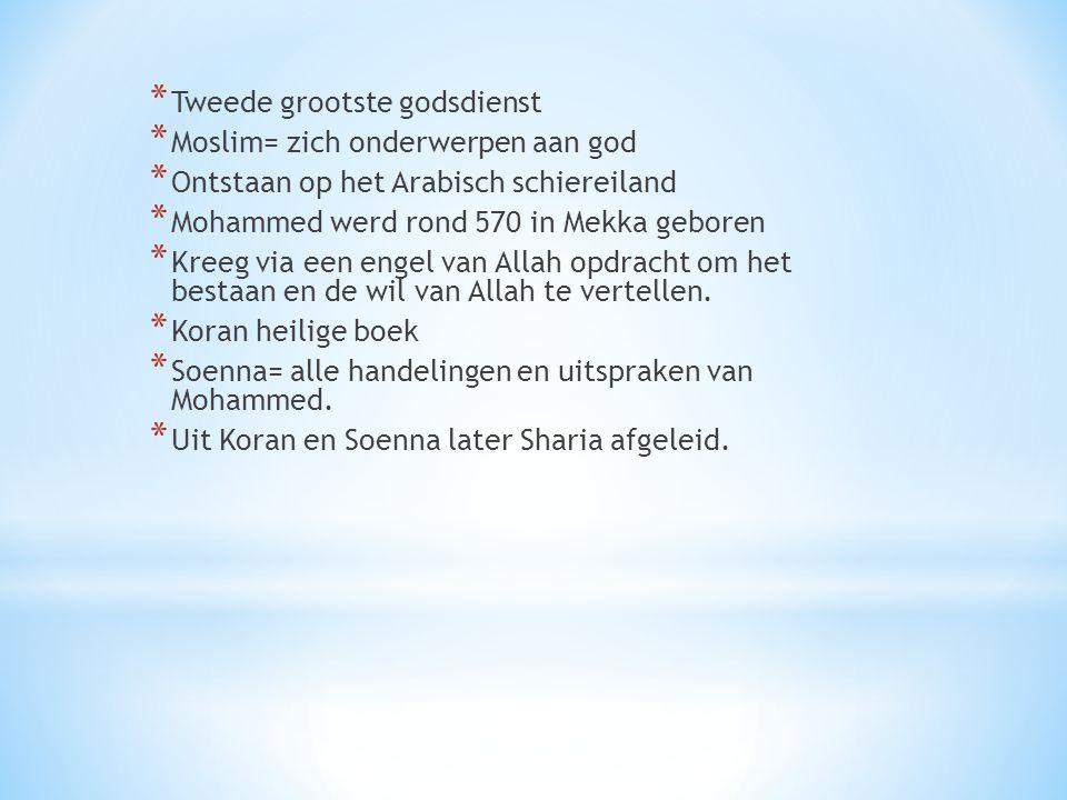 * Tweede grootste godsdienst * Moslim= zich onderwerpen aan god * Ontstaan op het Arabisch schiereiland * Mohammed werd rond 570 in Mekka geboren * Kr