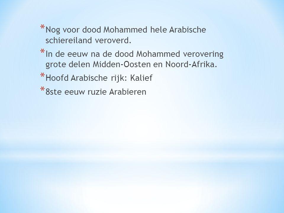 * Nog voor dood Mohammed hele Arabische schiereiland veroverd. * In de eeuw na de dood Mohammed verovering grote delen Midden-Oosten en Noord-Afrika.