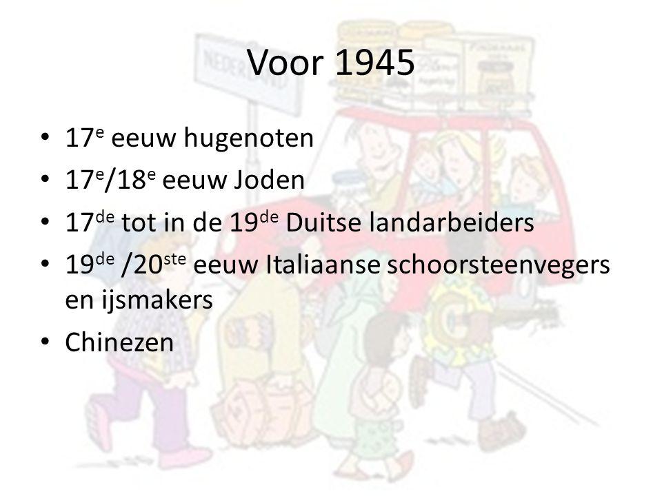 Voor 1945 17 e eeuw hugenoten 17 e /18 e eeuw Joden 17 de tot in de 19 de Duitse landarbeiders 19 de /20 ste eeuw Italiaanse schoorsteenvegers en ijsm