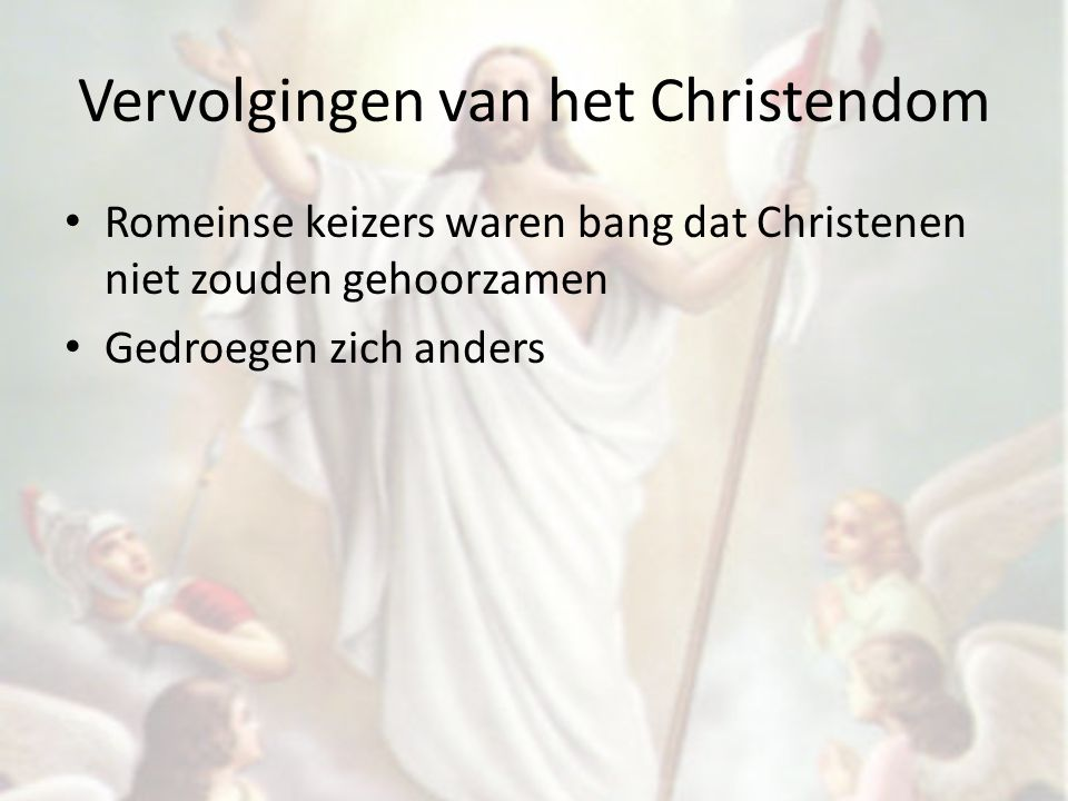 De triomf van het christendom Christendom werd populairder Constantijn liet in 313 het Christendom toe Eind 4 de eeuw besloot keizer Theodosius dat Christendom enige toegestane godsdienst was.