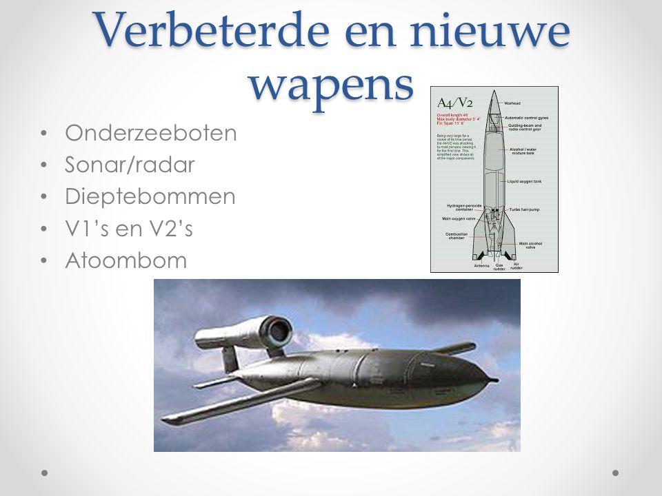 Verbeterde en nieuwe wapens Onderzeeboten Sonar/radar Dieptebommen V1's en V2's Atoombom