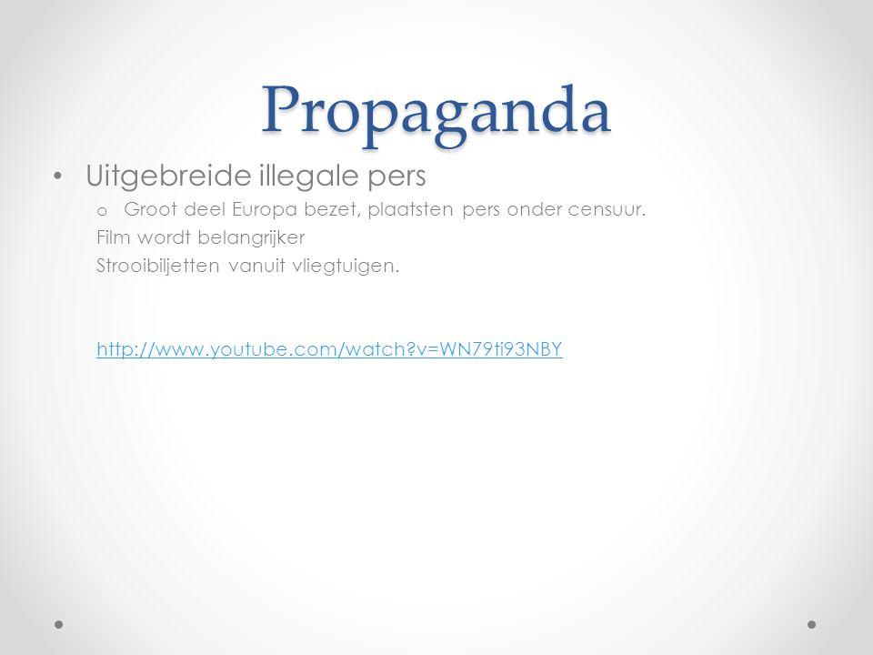 Propaganda Uitgebreide illegale pers o Groot deel Europa bezet, plaatsten pers onder censuur.