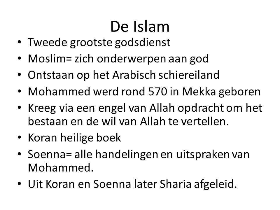De Islam Tweede grootste godsdienst Moslim= zich onderwerpen aan god Ontstaan op het Arabisch schiereiland Mohammed werd rond 570 in Mekka geboren Kreeg via een engel van Allah opdracht om het bestaan en de wil van Allah te vertellen.