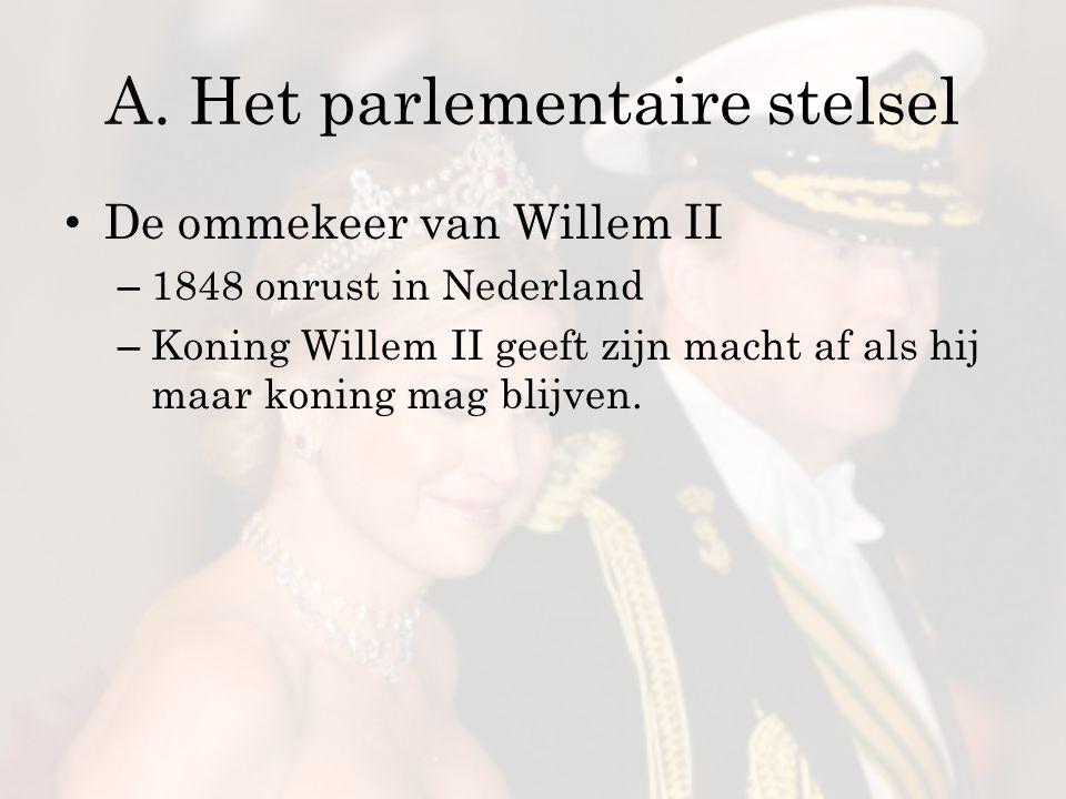 A. Het parlementaire stelsel De ommekeer van Willem II – 1848 onrust in Nederland – Koning Willem II geeft zijn macht af als hij maar koning mag blijv