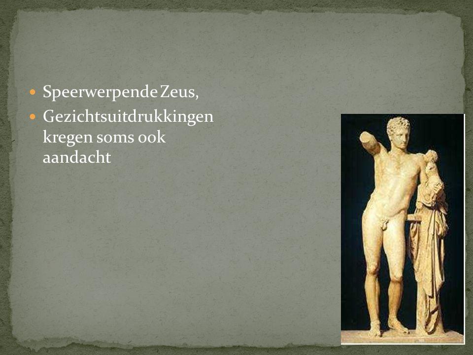 Speerwerpende Zeus, Gezichtsuitdrukkingen kregen soms ook aandacht