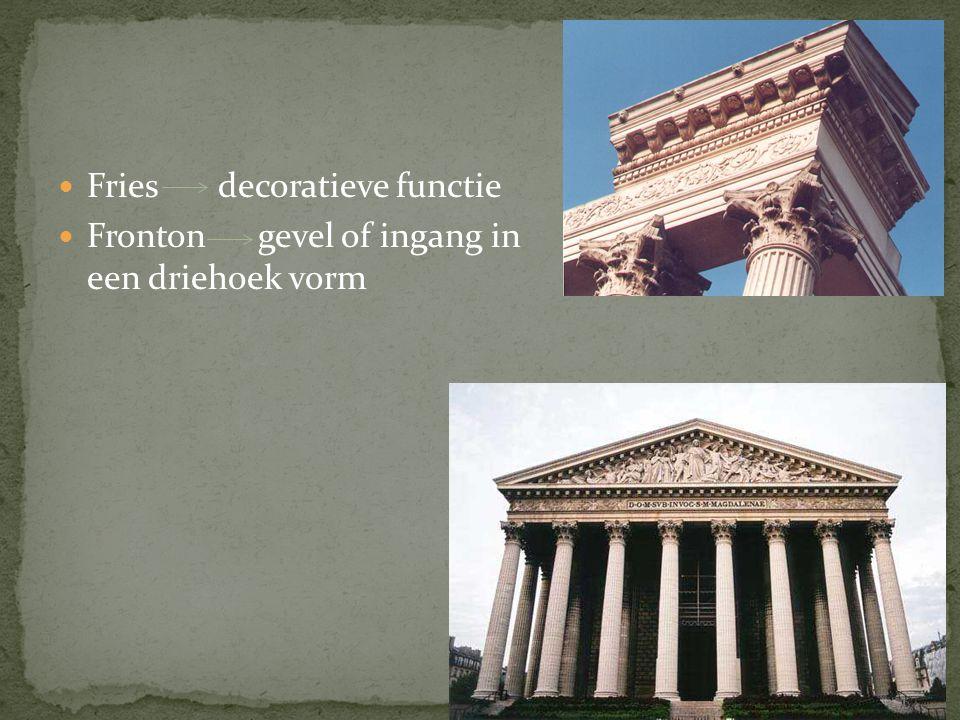 Fries decoratieve functie Fronton gevel of ingang in een driehoek vorm