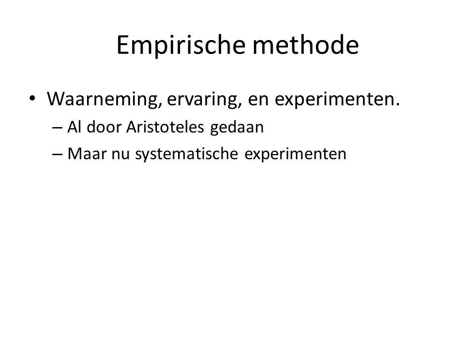 Empirische methode Waarneming, ervaring, en experimenten. – Al door Aristoteles gedaan – Maar nu systematische experimenten