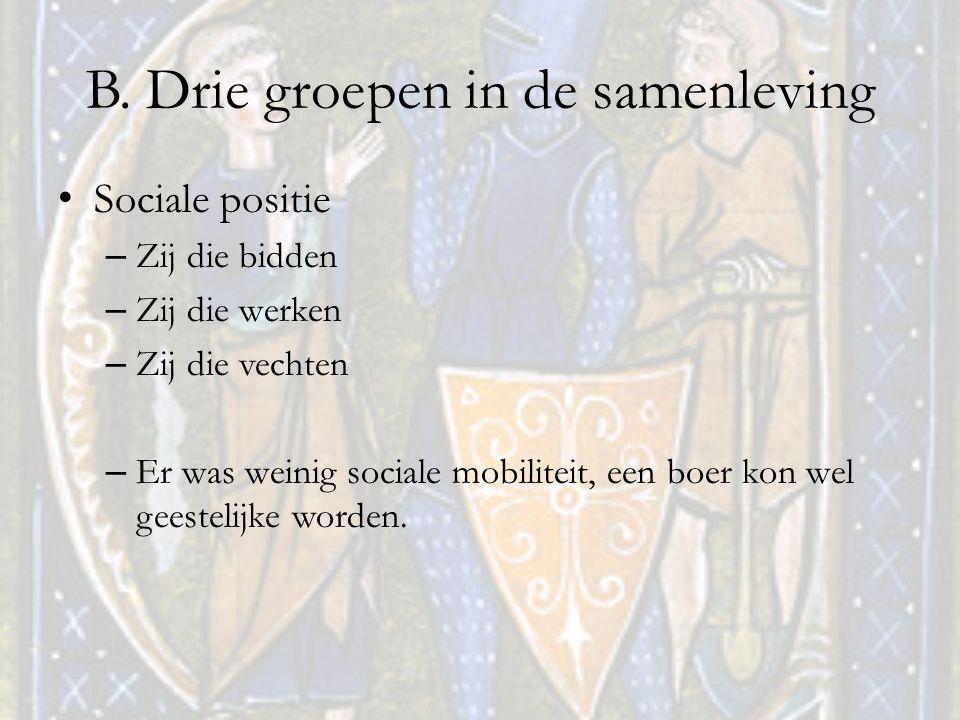 B. Drie groepen in de samenleving Sociale positie – Zij die bidden – Zij die werken – Zij die vechten – Er was weinig sociale mobiliteit, een boer kon