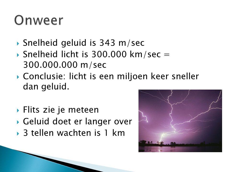  Snelheid geluid is 343 m/sec  Snelheid licht is 300.000 km/sec = 300.000.000 m/sec  Conclusie: licht is een miljoen keer sneller dan geluid.  Fli