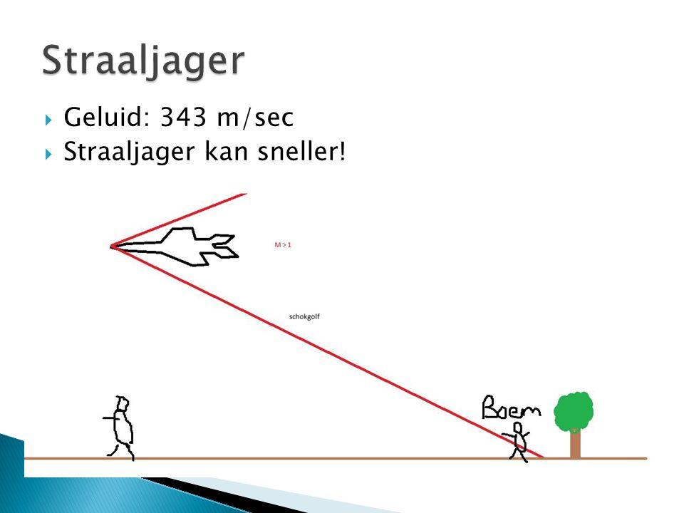  Geluid: 343 m/sec  Straaljager kan sneller!