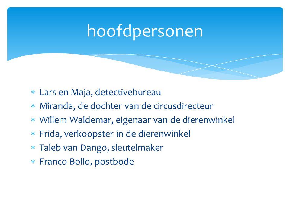  Lars en Maja, detectivebureau  Miranda, de dochter van de circusdirecteur  Willem Waldemar, eigenaar van de dierenwinkel  Frida, verkoopster in d