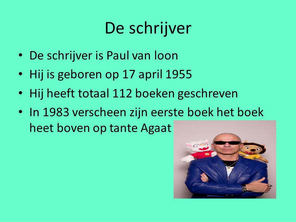 De schrijver De schrijver is Paul van loon Hij is geboren op 17 april 1955 Hij heeft totaal 112 boeken geschreven In 1983 verscheen zijn eerste boek het boek heet boven op tante Agaat