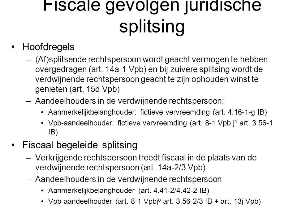 Fiscale gevolgen juridische splitsing Hoofdregels –(Af)splitsende rechtspersoon wordt geacht vermogen te hebben overgedragen (art. 14a-1 Vpb) en bij z