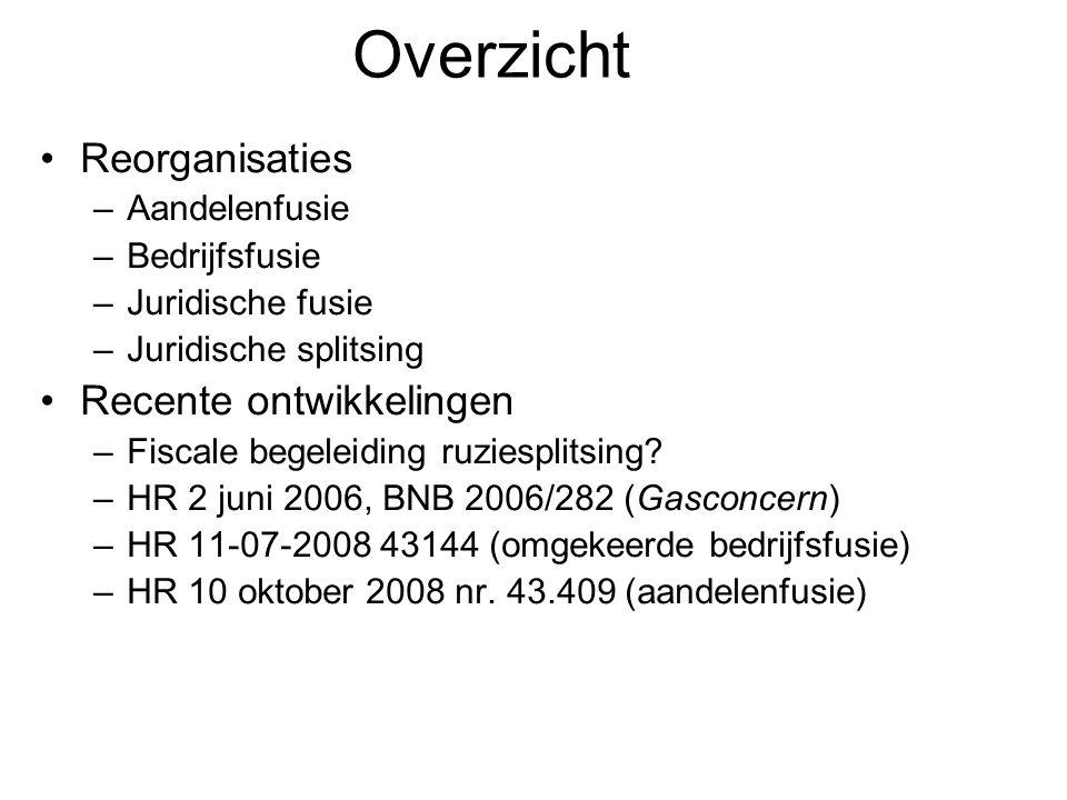 Overzicht Reorganisaties –Aandelenfusie –Bedrijfsfusie –Juridische fusie –Juridische splitsing Recente ontwikkelingen –Fiscale begeleiding ruziesplitsing.