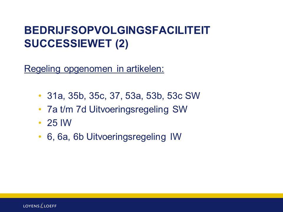 BEDRIJFSOPVOLGINGSFACILITEIT SUCCESSIEWET (2) Regeling opgenomen in artikelen: 31a, 35b, 35c, 37, 53a, 53b, 53c SW 7a t/m 7d Uitvoeringsregeling SW 25