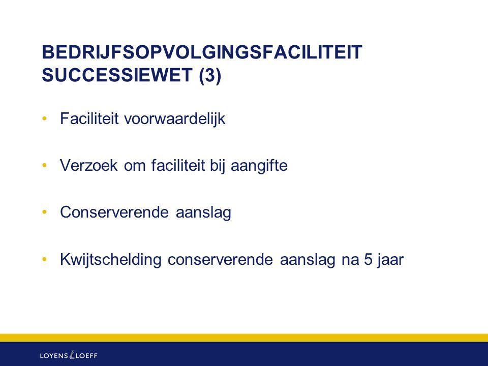 BEDRIJFSOPVOLGINGSFACILITEIT SUCCESSIEWET (3) Faciliteit voorwaardelijk Verzoek om faciliteit bij aangifte Conserverende aanslag Kwijtschelding conser