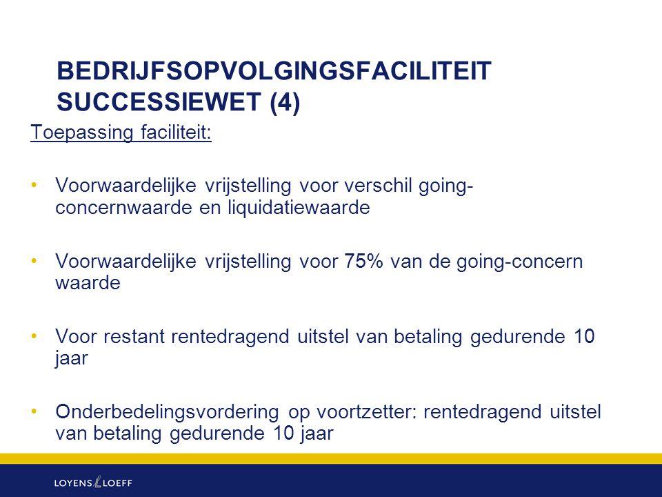 BEDRIJFSOPVOLGINGSFACILITEIT SUCCESSIEWET (4) Toepassing faciliteit: Voorwaardelijke vrijstelling voor verschil going- concernwaarde en liquidatiewaar