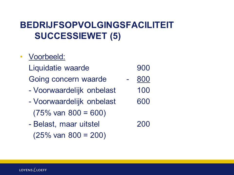 BEDRIJFSOPVOLGINGSFACILITEIT SUCCESSIEWET (5) Voorbeeld: Liquidatie waarde900 Going concern waarde -800 - Voorwaardelijk onbelast100 - Voorwaardelijk