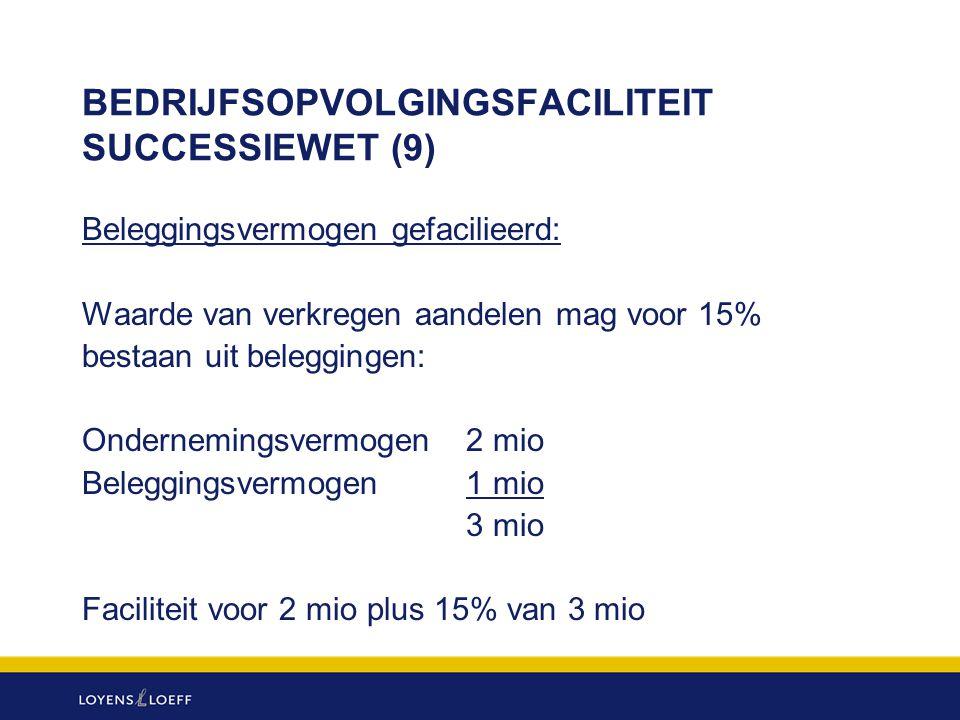 BEDRIJFSOPVOLGINGSFACILITEIT SUCCESSIEWET (9) Beleggingsvermogen gefacilieerd: Waarde van verkregen aandelen mag voor 15% bestaan uit beleggingen: Ond