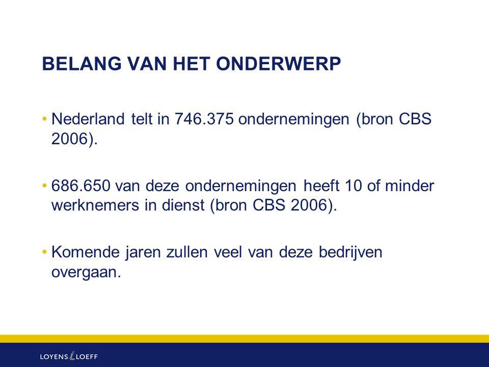 BELANG VAN HET ONDERWERP Nederland telt in 746.375 ondernemingen (bron CBS 2006). 686.650 van deze ondernemingen heeft 10 of minder werknemers in dien