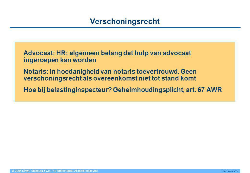 © 2005 KPMG Meijburg & Co, The Netherlands. All rights reserved. filename - 24 Verschoningsrecht Advocaat: HR: algemeen belang dat hulp van advocaat i