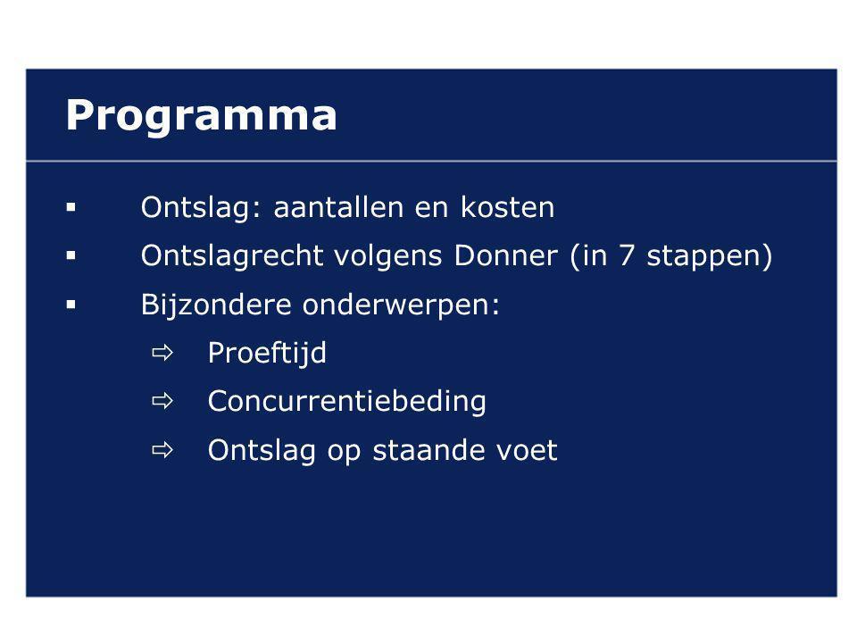Programma  Ontslag: aantallen en kosten  Ontslagrecht volgens Donner (in 7 stappen)  Bijzondere onderwerpen:  Proeftijd  Concurrentiebeding  Ontslag op staande voet