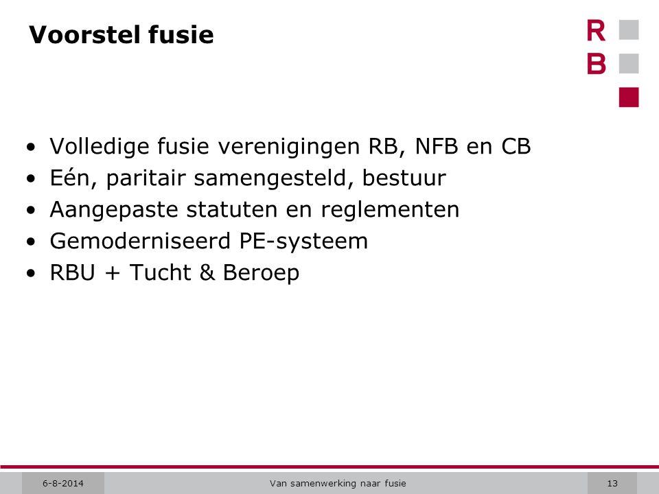 6-8-2014Van samenwerking naar fusie13 Voorstel fusie Volledige fusie verenigingen RB, NFB en CB Eén, paritair samengesteld, bestuur Aangepaste statute