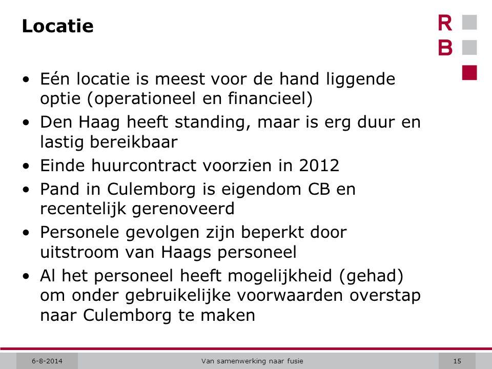 6-8-2014Van samenwerking naar fusie15 Locatie Eén locatie is meest voor de hand liggende optie (operationeel en financieel) Den Haag heeft standing, maar is erg duur en lastig bereikbaar Einde huurcontract voorzien in 2012 Pand in Culemborg is eigendom CB en recentelijk gerenoveerd Personele gevolgen zijn beperkt door uitstroom van Haags personeel Al het personeel heeft mogelijkheid (gehad) om onder gebruikelijke voorwaarden overstap naar Culemborg te maken