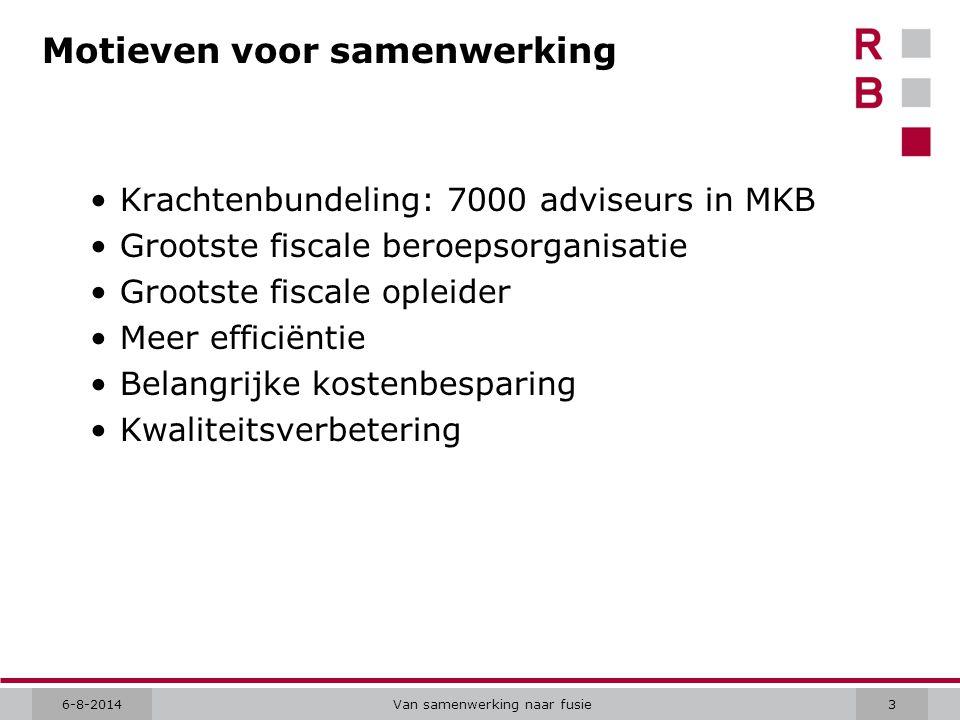 6-8-2014Van samenwerking naar fusie3 Motieven voor samenwerking Krachtenbundeling: 7000 adviseurs in MKB Grootste fiscale beroepsorganisatie Grootste