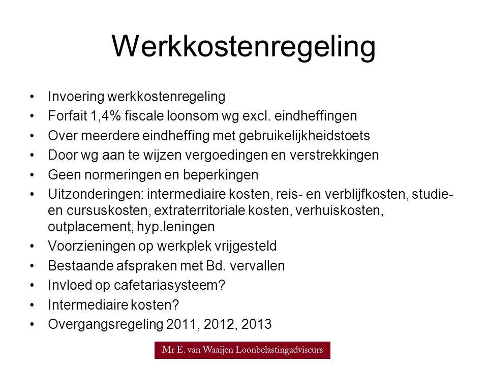 Werkkostenregeling Invoering werkkostenregeling Forfait 1,4% fiscale loonsom wg excl.