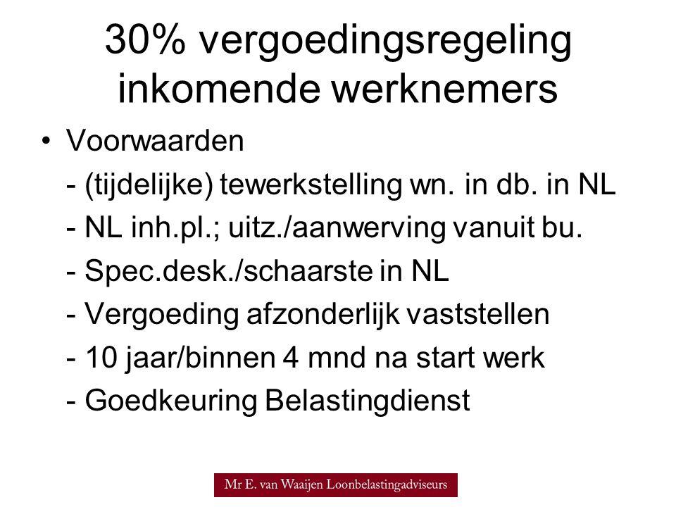 30% vergoedingsregeling inkomende werknemers Voorwaarden - (tijdelijke) tewerkstelling wn.