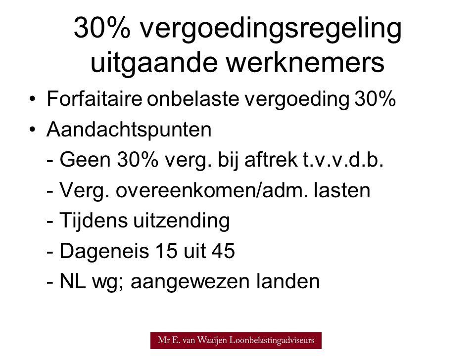 30% vergoedingsregeling uitgaande werknemers Forfaitaire onbelaste vergoeding 30% Aandachtspunten - Geen 30% verg.