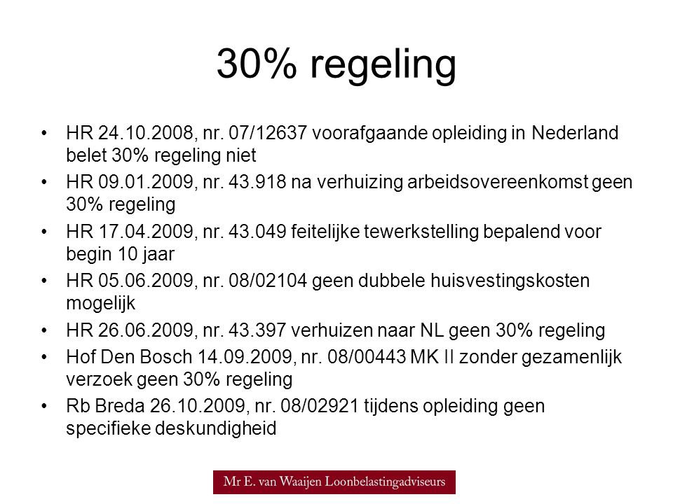 30% regeling HR 24.10.2008, nr.