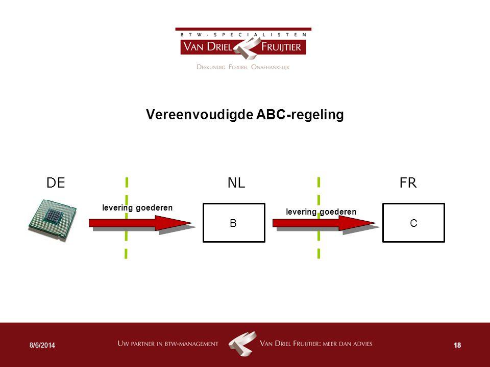 Vereenvoudigde ABC-regeling 188/6/2014 BC levering goederen NL DE FR