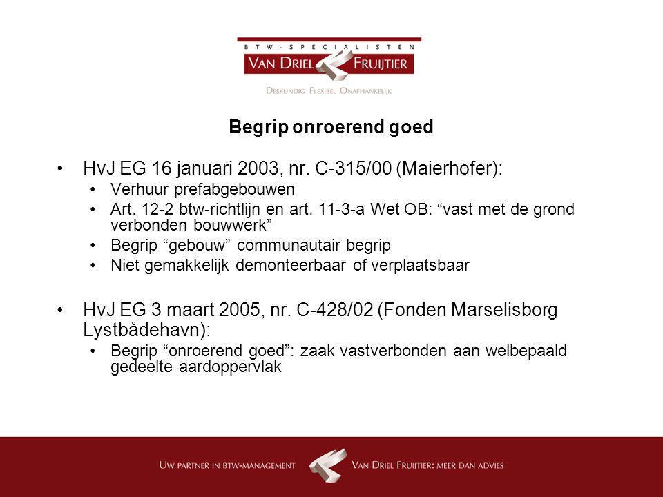 Begrip onroerend goed HvJ EG 16 januari 2003, nr.