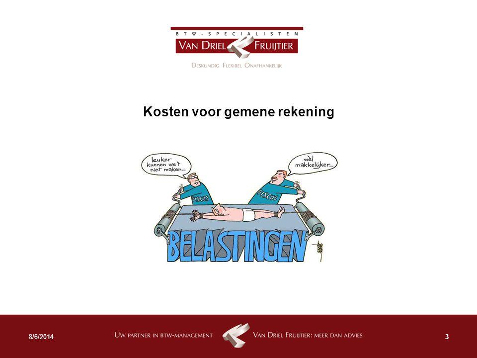 Kosten voor gemene rekening 38/6/2014